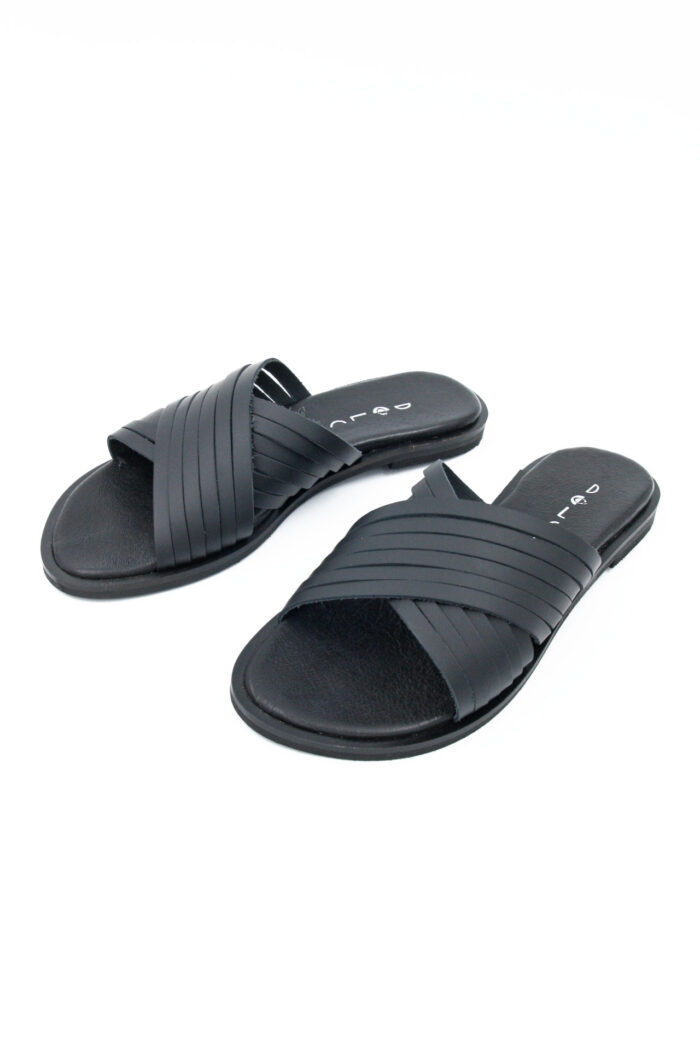 BLACK FLAT HANDMADE SLIDES SANDALS