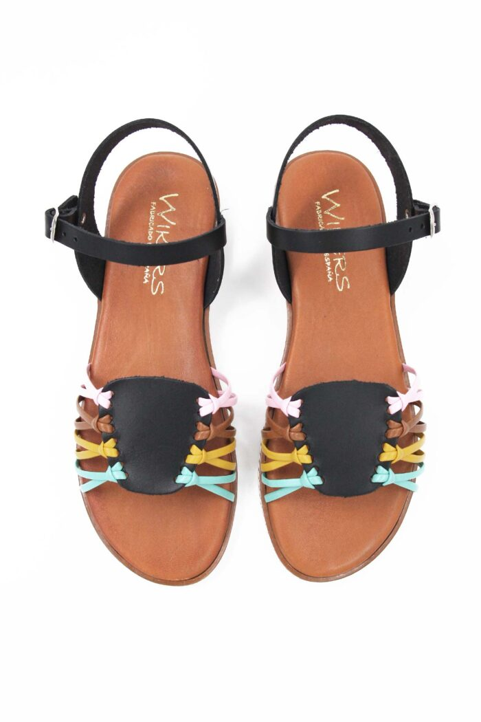 BLACK/MULTICOLOR LEATHER FLAT SANDALS