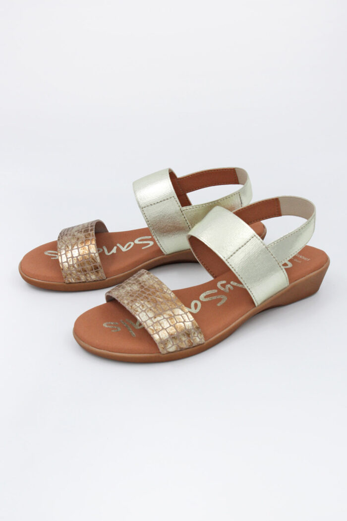 TAUPE LEATHER SMALL WEDGED SANDALS