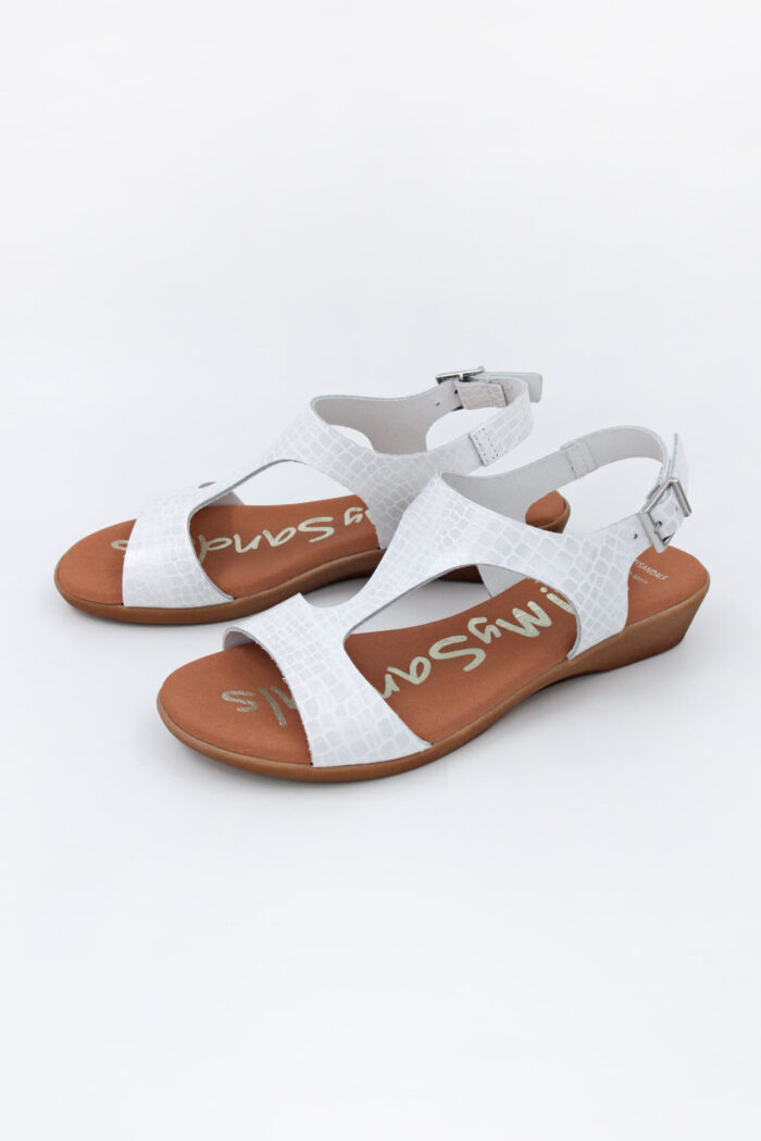WHITE LEATHER SMALL WEDGED SANDALS