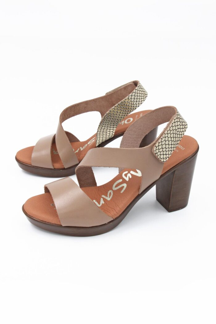 TAUPE LEATHER ANATOMIC WIDE HEELS