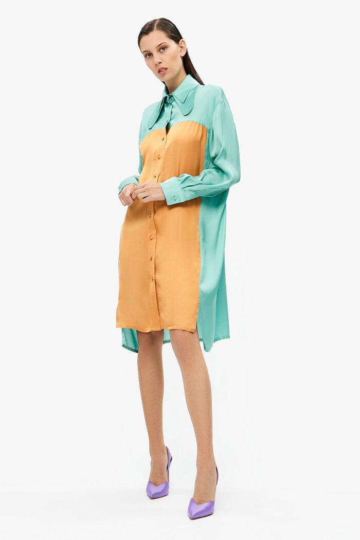 MULTICOLOR DOUBLE COLLAR SHIRT DRESS