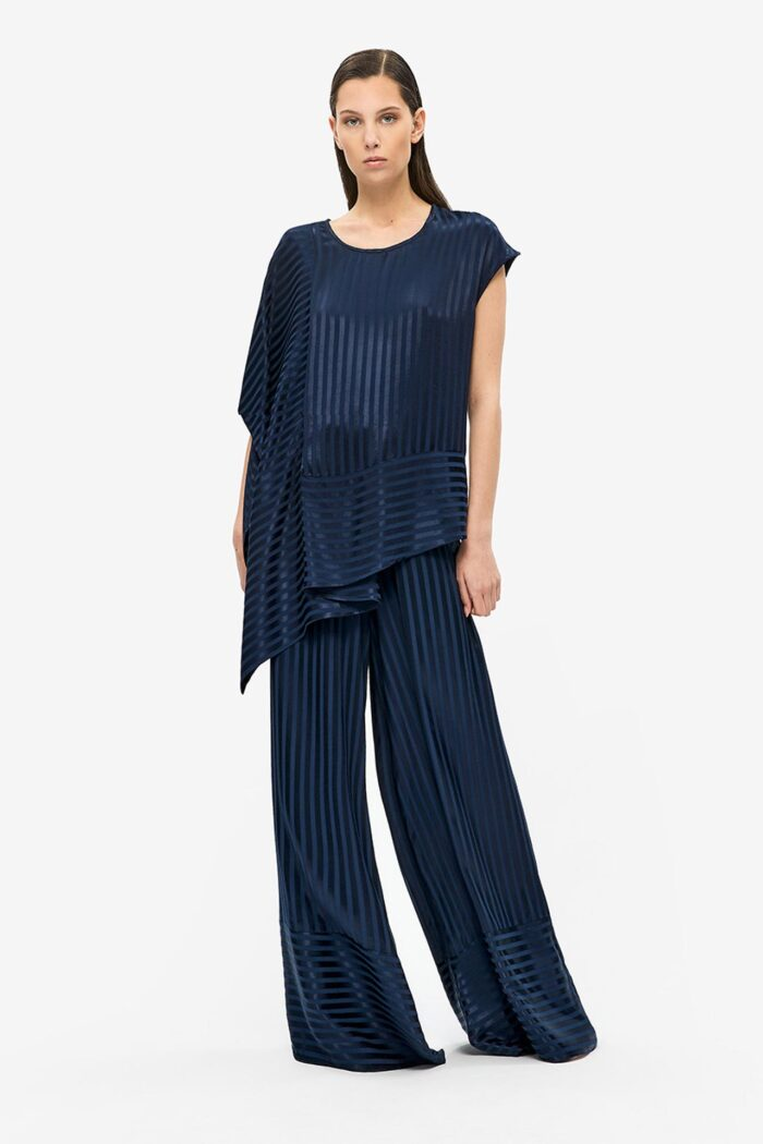 NAVY BLUE STRIPED LOOSE TROUSERS