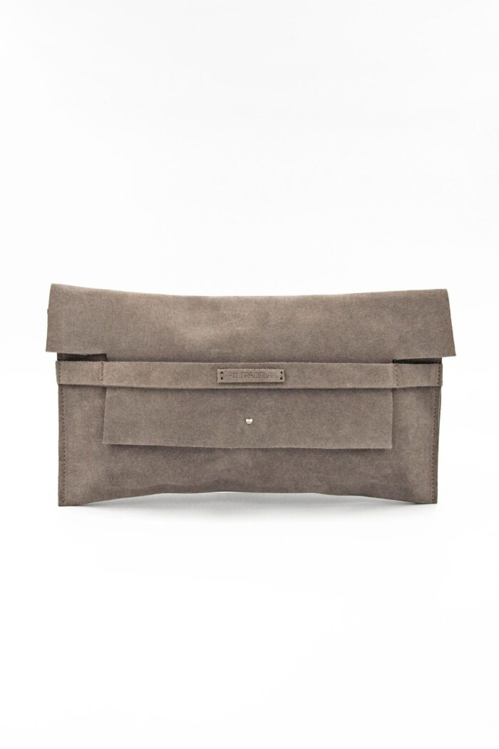 TAUPE SUEDE SIMPLE CLUTCH