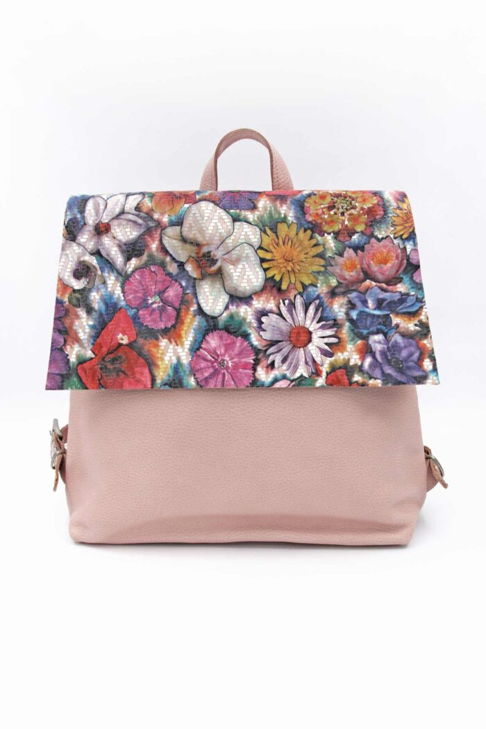 PINK FLOWERS LEATHER SQUARE BACKPACK