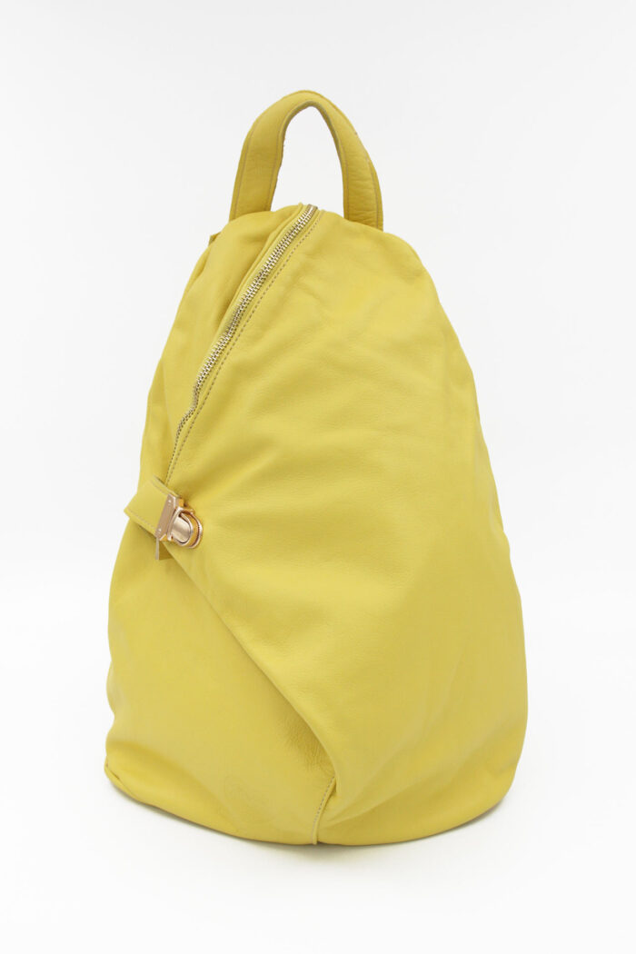 YELLOW LEATHER TRIANGLE BACKPACK