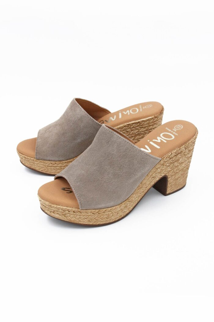 TAUPE SUEDE ANATOMIC WIDE HEELS MULES
