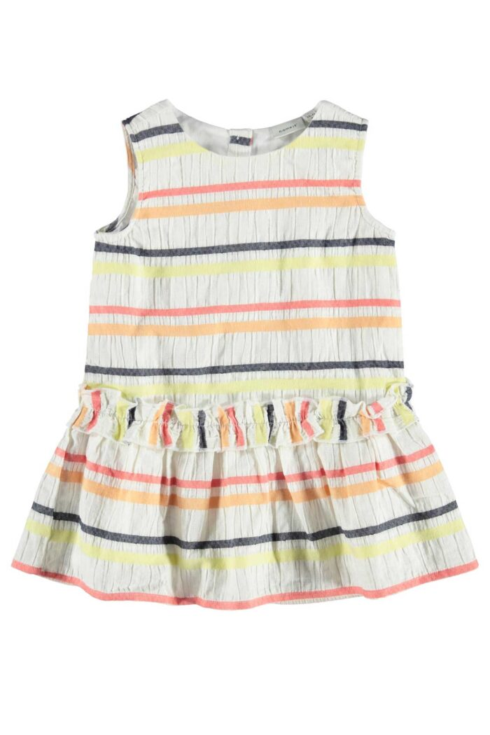WHITE SUMMER DRESS WITH COLORFUL STRIPES