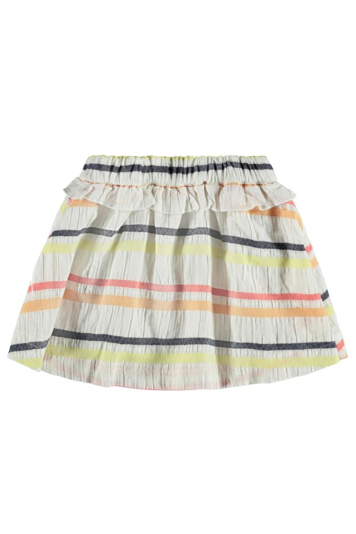 WHITE SKIRT WITH COLORFUL STRIPES