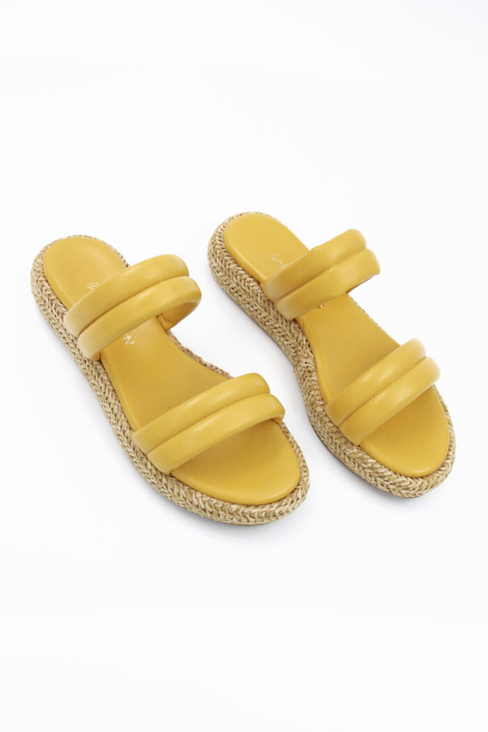 YELLOW LEATHER SLIDES