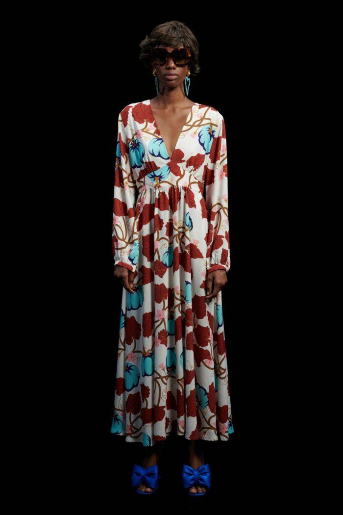 WE ARE CREAM PUMPKINS V-BUST MAXI DRESS
