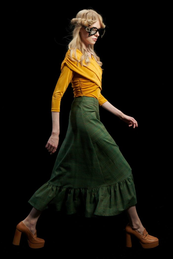 WE ARE GREEN A-LINE SKIRT