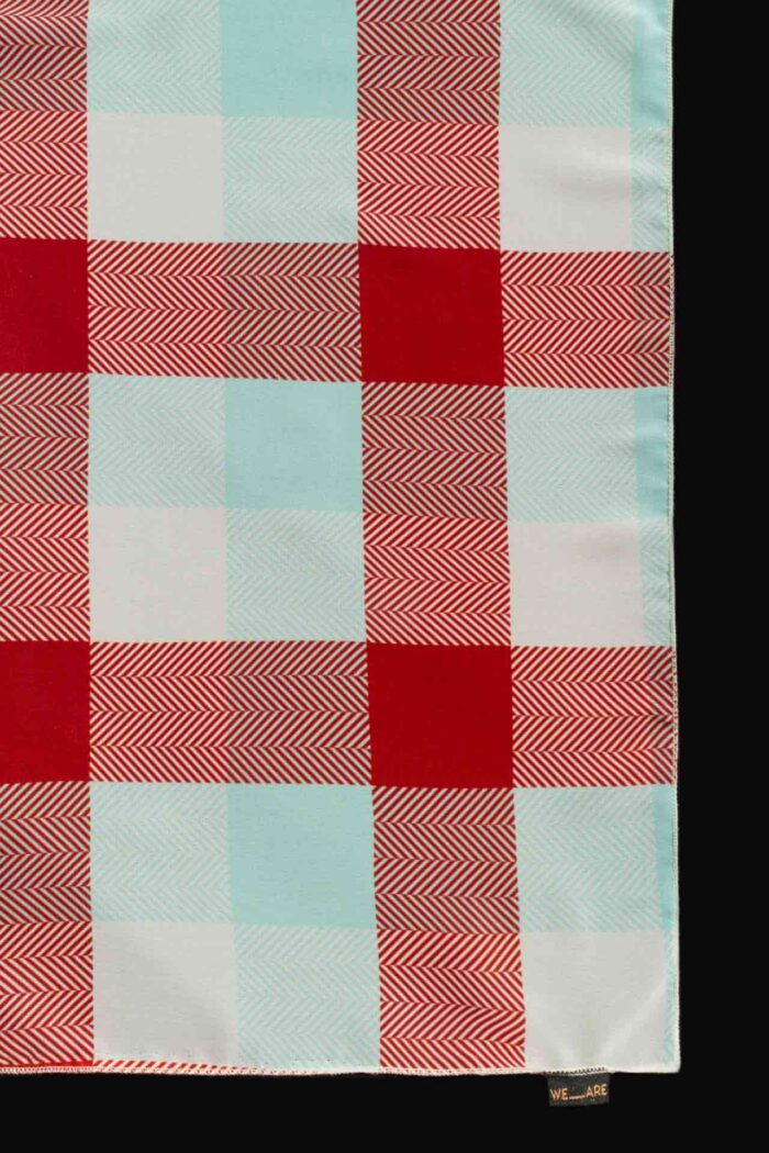 WE ARE GINGHAM COGNAC CHIFFON SQUARE SCARF