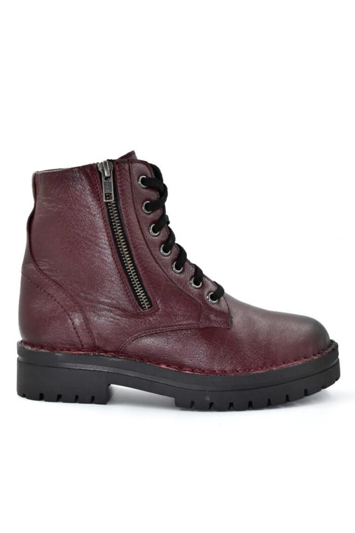 WIKERS CHERRY LEATHER SHORT COMBAT BOOTS