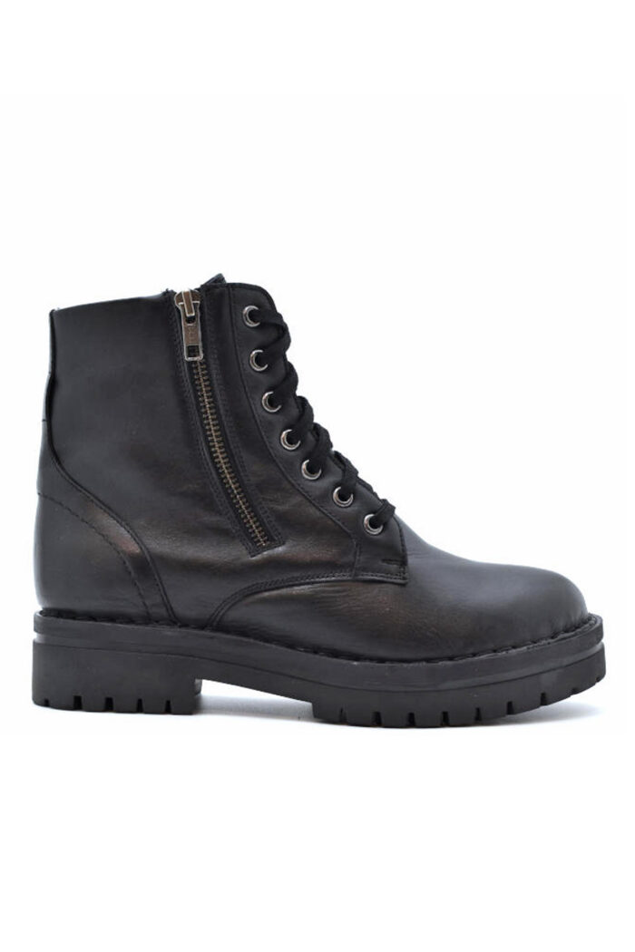 WIKERS BLACK LEATHER SHORT COMBAT BOOTS