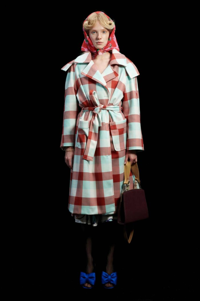 WE ARE GINGHAM COGNAC OVERSIZED HOODED COAT